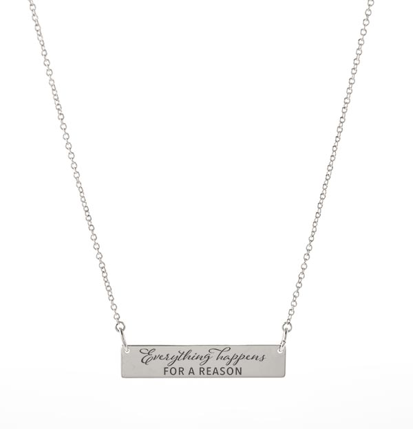 NL1001 Everything Happens for a Reason  Silver Bar Necklace